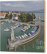 Lindau Harbor Lake Constance Bavaria Germany Wood Print by Matthias Hauser
