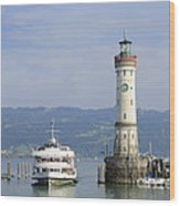 Lindau Harbor With Ship Bavaria Germany Wood Print by Matthias Hauser