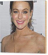Lindsay Lohan Wearing Chanel Earrings Wood Print