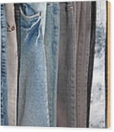 Line Of Jeans Wood Print