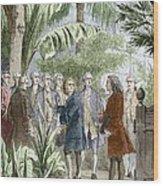 Linnaeus And De Jussieu, Botanists Wood Print