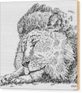 Lion-art-black-white Wood Print