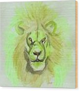 Lion Green Wood Print