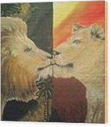Lion N Lionness Wood Print