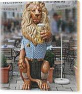 Lion Of Beer Wood Print