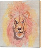 Lion Orange Wood Print