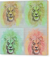 Lion X 4  Wood Print
