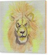 Lion Yellow Wood Print