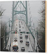 Lions Mist Lions Gate Bridge From Stanley Park Vancouver Bc Wood Print by Andy Smy