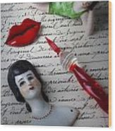 Lips Pen And Old Letter Wood Print by Garry Gay