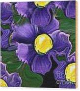 Liquid Violets Wood Print
