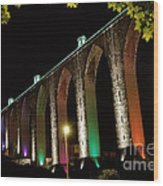 Lisbon Historic Aqueduct By Night Wood Print