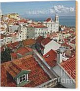 Lisbon Rooftops Wood Print by Carlos Caetano