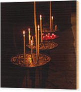 Lit Candles In A Church Wood Print