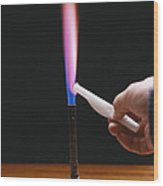 Lithium Flame Test Wood Print by Andrew Lambert Photography