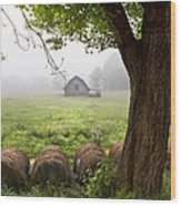 Little Barn Wood Print by Debra and Dave Vanderlaan