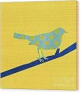 Little Blue Bird Wood Print
