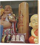 Little Buddhas In Silom In Bangkok In Thailand Wood Print