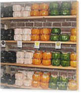 Little Cheeses On A Shelf In Amsterdam Wood Print