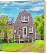 Little Cottage By The Sea Wood Print
