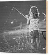 Little Fishing Girl Wood Print