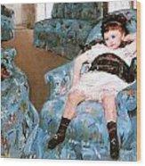 Little Girl In A Blue Armchair Wood Print
