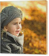 Little Girl In Autumn Leaves Scenery At Sunset Wood Print