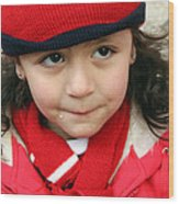 Little Girl In Red Wood Print
