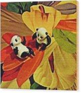Little Glass Pandas 50 Wood Print