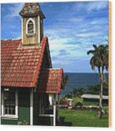 Little Green Church In Hawaii Wood Print