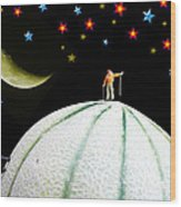 Little People Hiking On Fruits Under Starry Night Wood Print