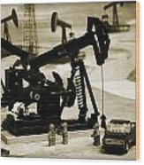 Little Pumpjacks Wood Print by Ricky Barnard