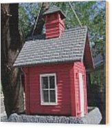 Little Red Birdhouse Wood Print