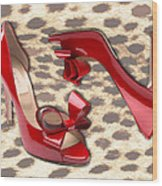 Little Red Bow Peep Toes Wood Print