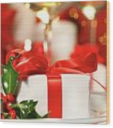 Little Red Ribboned Gift Wood Print