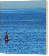 Little Red Sailboat Giant Blue Sea Wood Print
