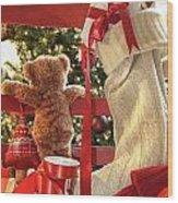 Little Teddy Bear Looking Through Chair Wood Print
