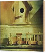Little Wooden Train On Shelf Wood Print by Sandra Cunningham