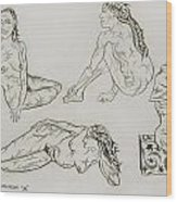 Live Nude 24 Female Wood Print