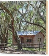 Live Oak Cabin Wood Print by Bob Jackson