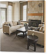 Living Room In An Upscale Home Wood Print