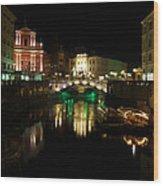Ljubljana By Night Wood Print