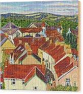Painting Llandovery Roof Tops Wood Print