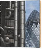 Lloyds Of London And The Gherkin Building Wood Print