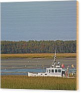Lobster Boat Along Maine Wood Print