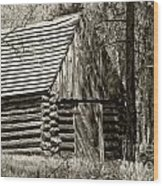 Log Building In The  Woods Wood Print