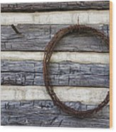 Log Cabin And Barbed Wire Wood Print