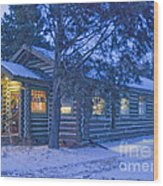 Log Cabin Library 1 Wood Print