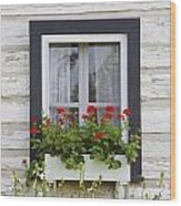 Log Home And Flower Box In The Window Wood Print