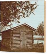 Log Shed In The Shade Wood Print